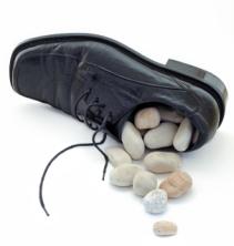 pebble in shoe